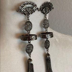 Jewelry - BOGO! Silver Filagree Tassel Earrings Boho